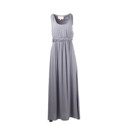 DRAPED LONG DRESS GREY
